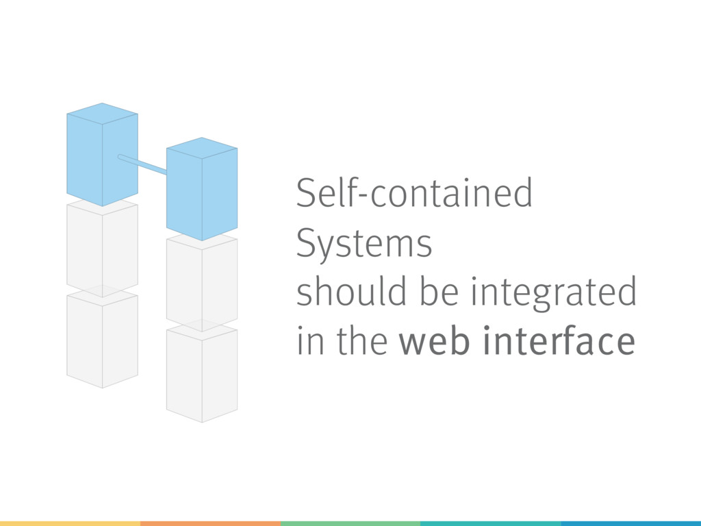 Self-contained Systems should be integrated in ...