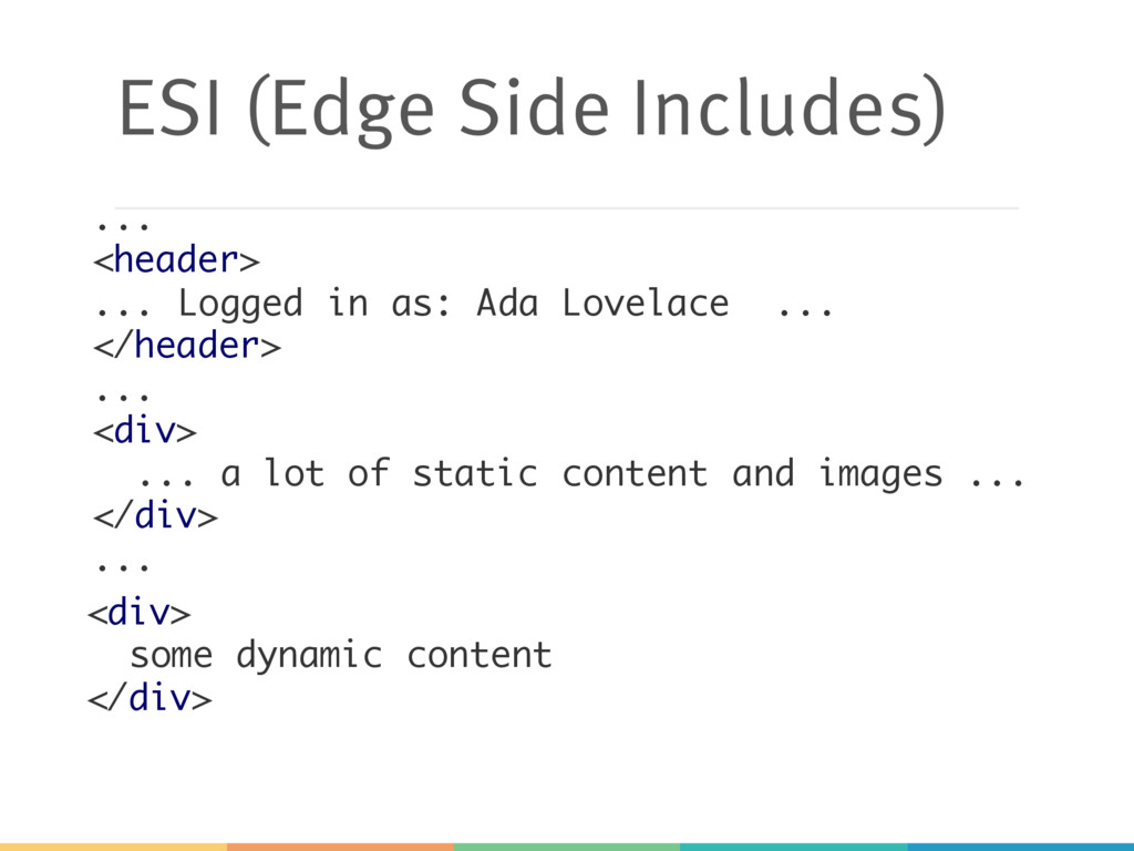 ESI (Edge Side Includes) ... <div> ... a lot of...