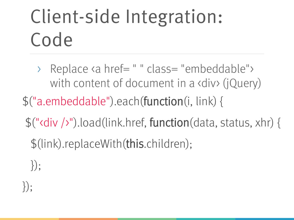 """Client-side Integration: Code $(""""a.embeddable"""")..."""