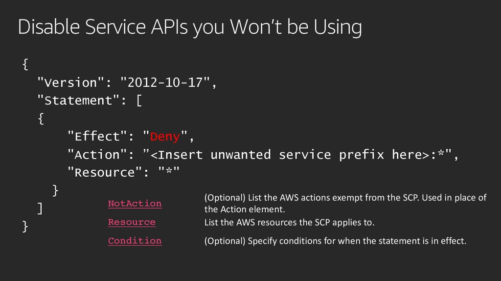 """Disable Service APIs you Won't be Using { """"Vers..."""