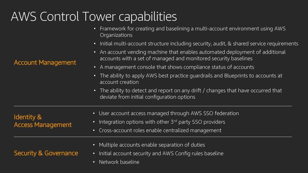 AWS Control Tower capabilities • Framework for ...