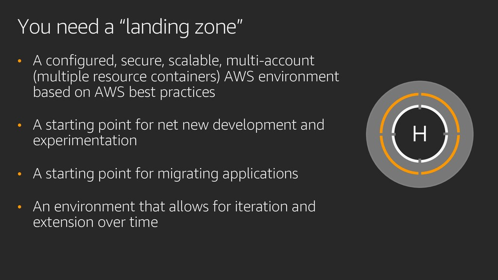 """You need a """"landing zone"""" • A configured, secur..."""