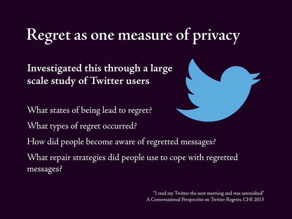 Regret as one measure of privacy Investigated t...
