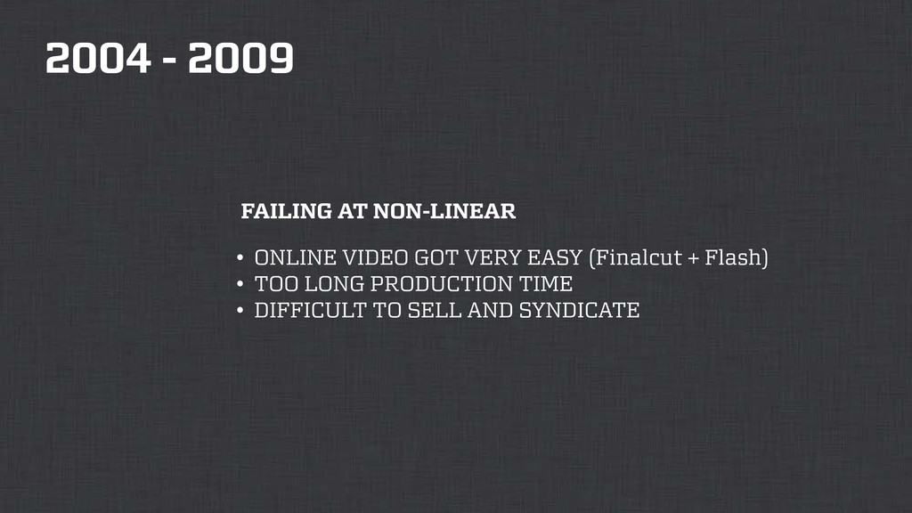 2004 - 2009 FAILING AT NON-LINEAR • ONLINE VIDE...