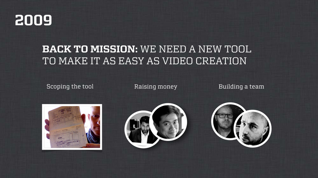 2009 Scoping the tool Raising money Building a ...