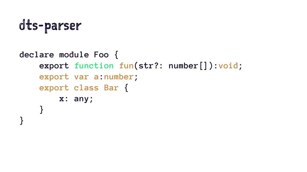 dts-parser declare module Foo { export function...