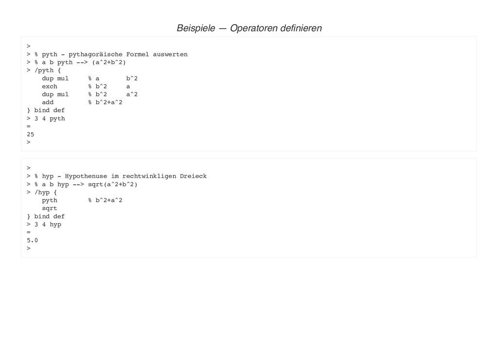 Beispiele — Operatoren definieren > > % pyth - ...