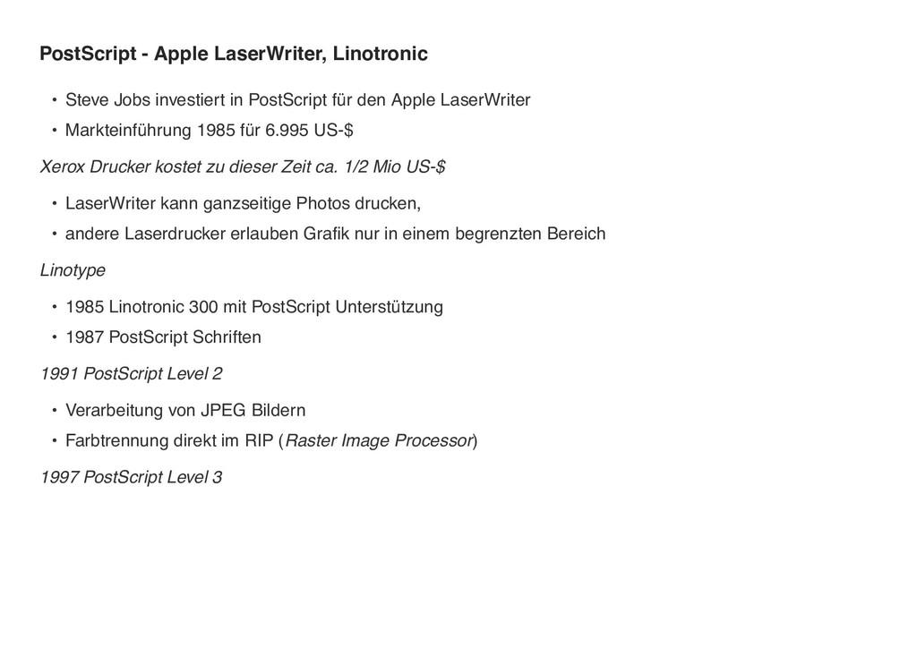 PostScript - Apple LaserWriter, Linotronic • St...