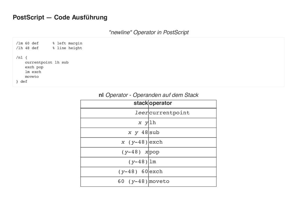 """PostScript — Code Ausführung """"newline"""" Operator..."""