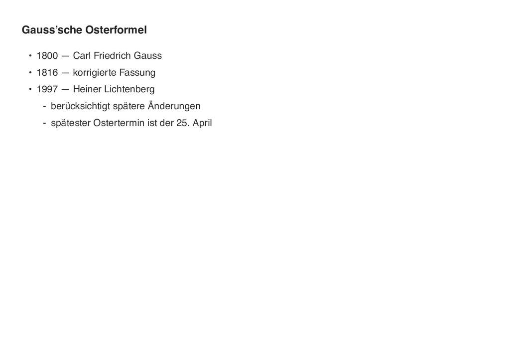 Gauss'sche Osterformel • 1800 — Carl Friedrich ...