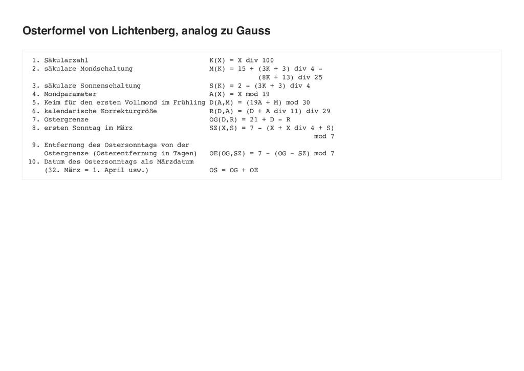 Osterformel von Lichtenberg, analog zu Gauss 1....