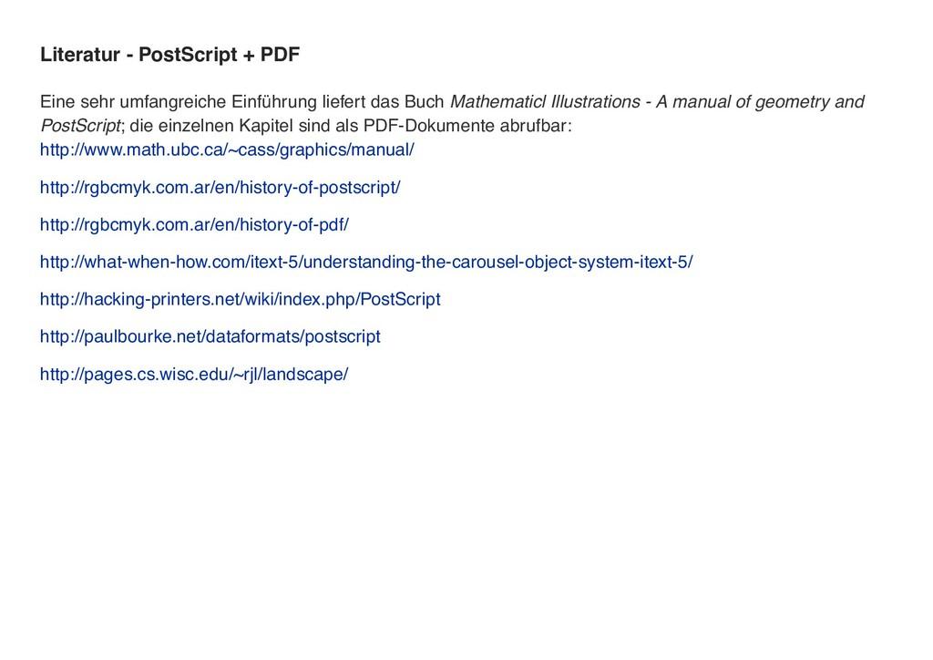 Literatur - PostScript + PDF Eine sehr umfangre...