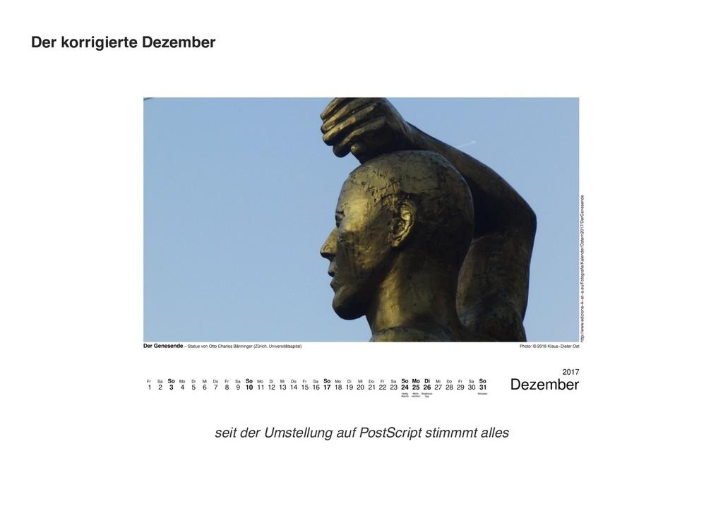 Der korrigierte Dezember seit der Umstellung au...