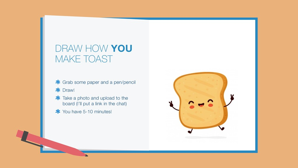 DRAW HOW YOU MAKE TOAST Grab some paper and a p...