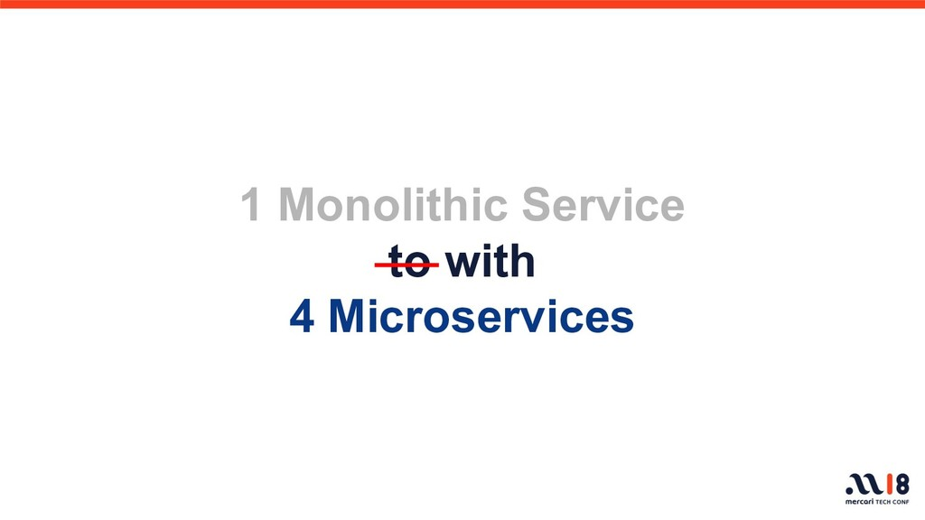 1 Monolithic Service to with 4 Microservices