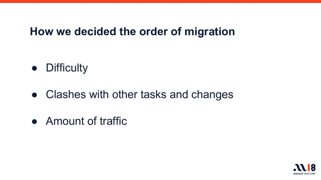 How we decided the order of migration ● Difficu...