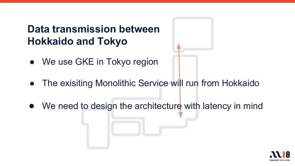 Data transmission between Hokkaido and Tokyo ● ...