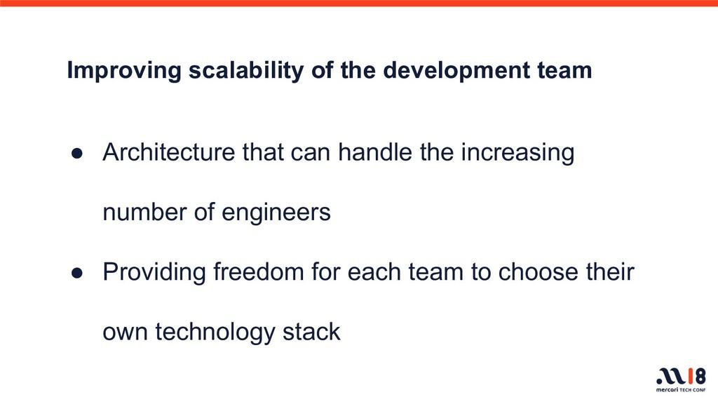 Improving scalability of the development team ●...