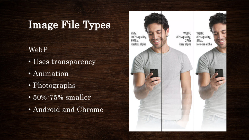 Image File Types WebP • Uses transparency • A...