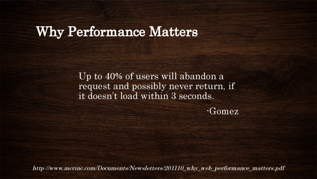 Why Performance Matters Up to 40% of users will...
