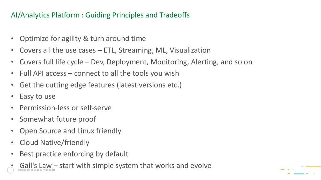 AI/Analytics Platform : Guiding Principles and ...