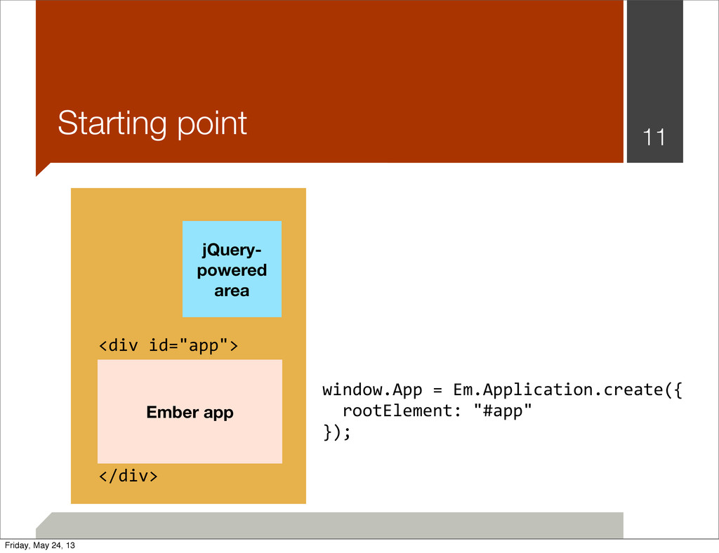 Starting point 11 jQuery- powered area Ember ap...