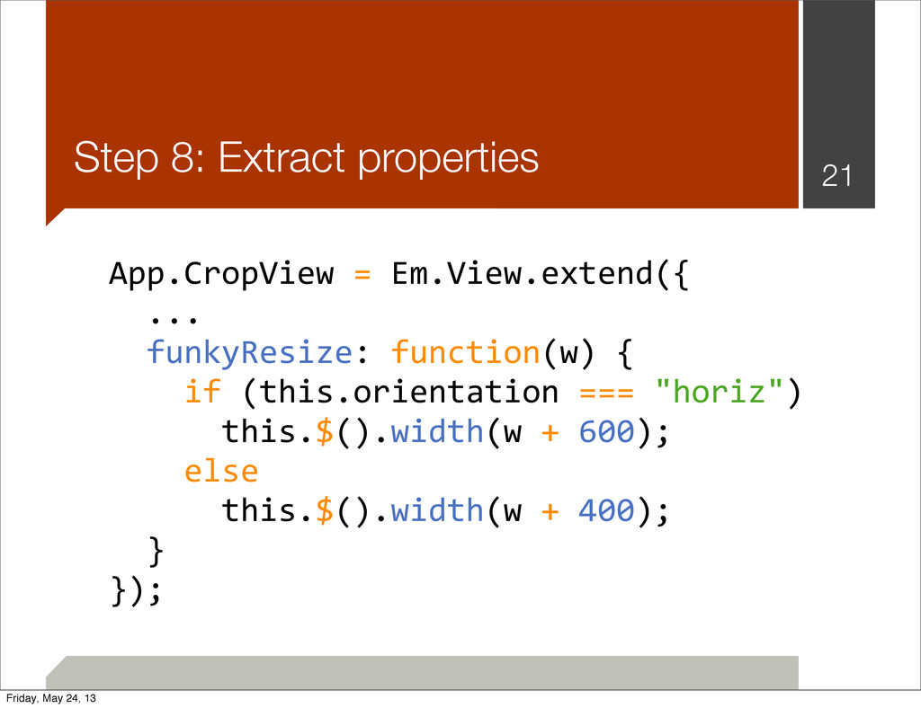 Step 8: Extract properties 21 App.CropView	