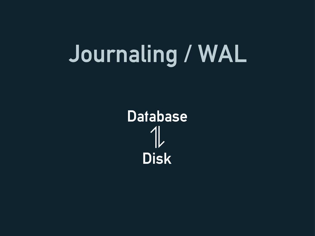 Journaling / WAL Database Disk