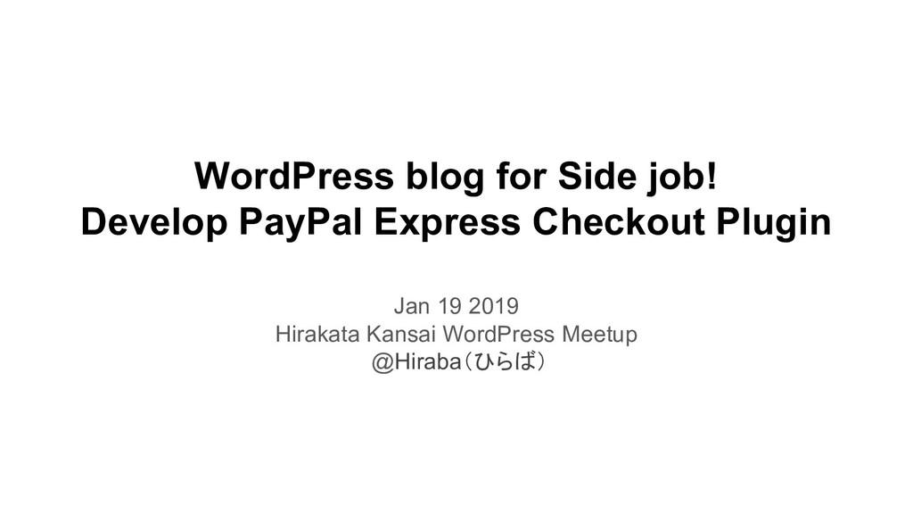 WordPress blog for Side job! Develop PayPal Exp...