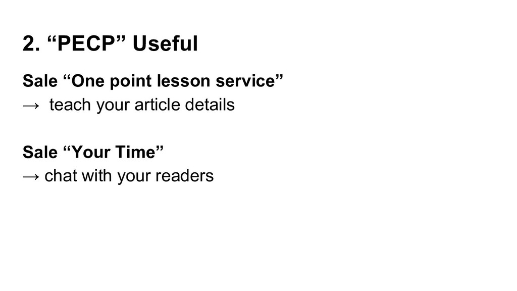 """2. """"PECP"""" Useful Sale """"One point lesson service..."""