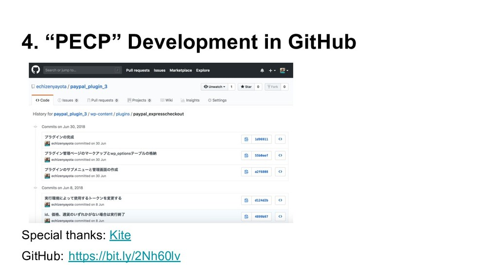 """4. """"PECP"""" Development in GitHub Special thanks:..."""