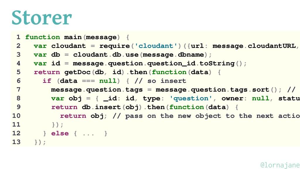 Storer 1 function main(message) { 2 var cloudan...