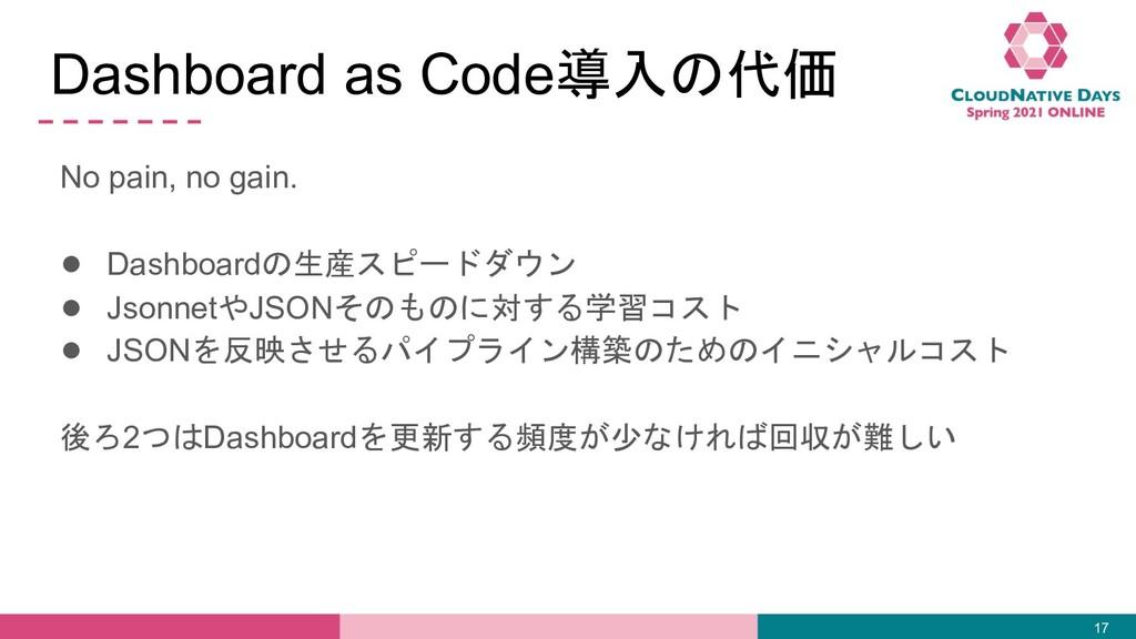 Dashboard as Code導入の代価 No pain, no gain. ● Dash...