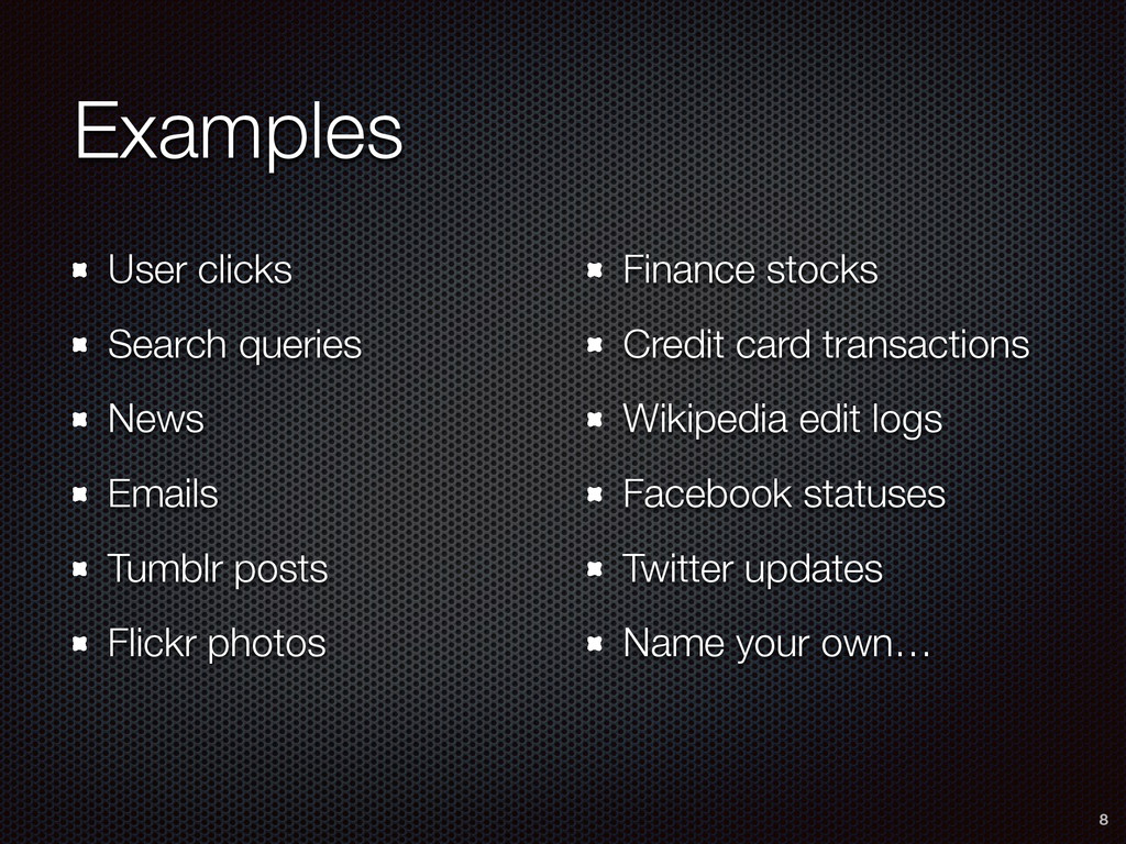 Examples User clicks Search queries News Emails...