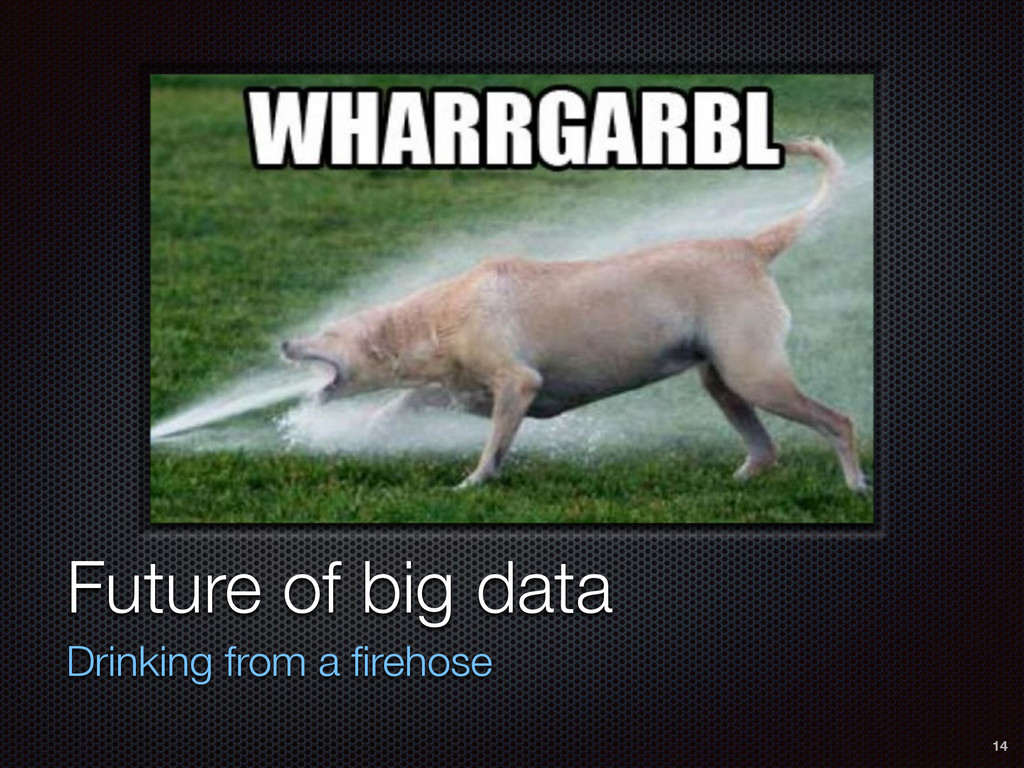 Future of big data Drinking from a firehose 14