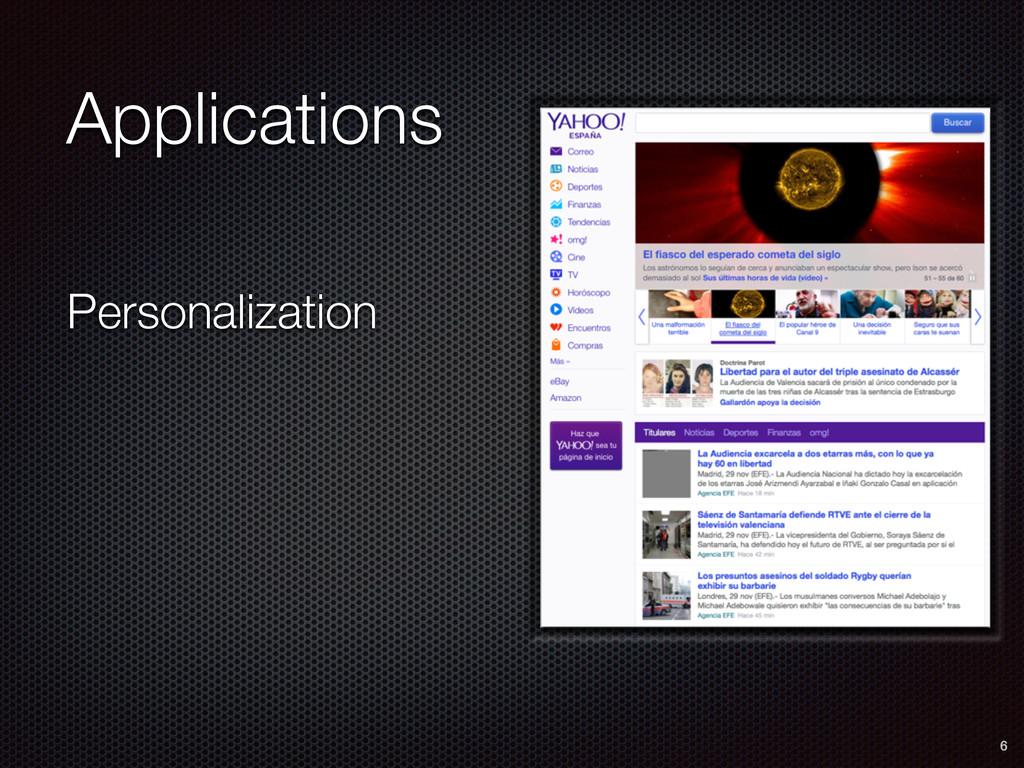 Personalization 6 Applications