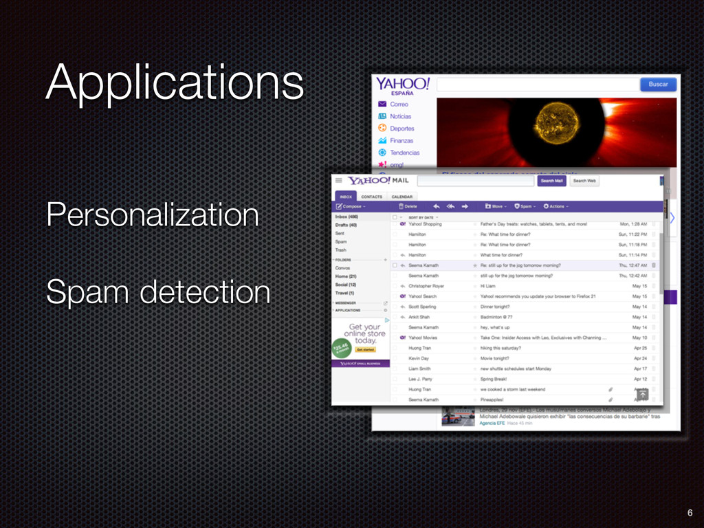 Personalization Spam detection 6 Applications