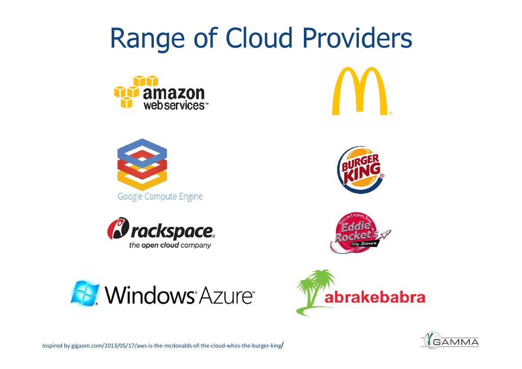 Range of Cloud Providers Inspired by gigaom.com...