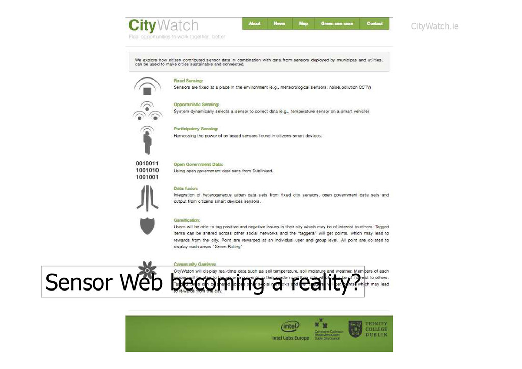 Sensor Web becoming a reality? CityWatch.ie