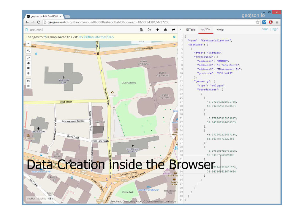 Data Creation inside the Browser geojson.io
