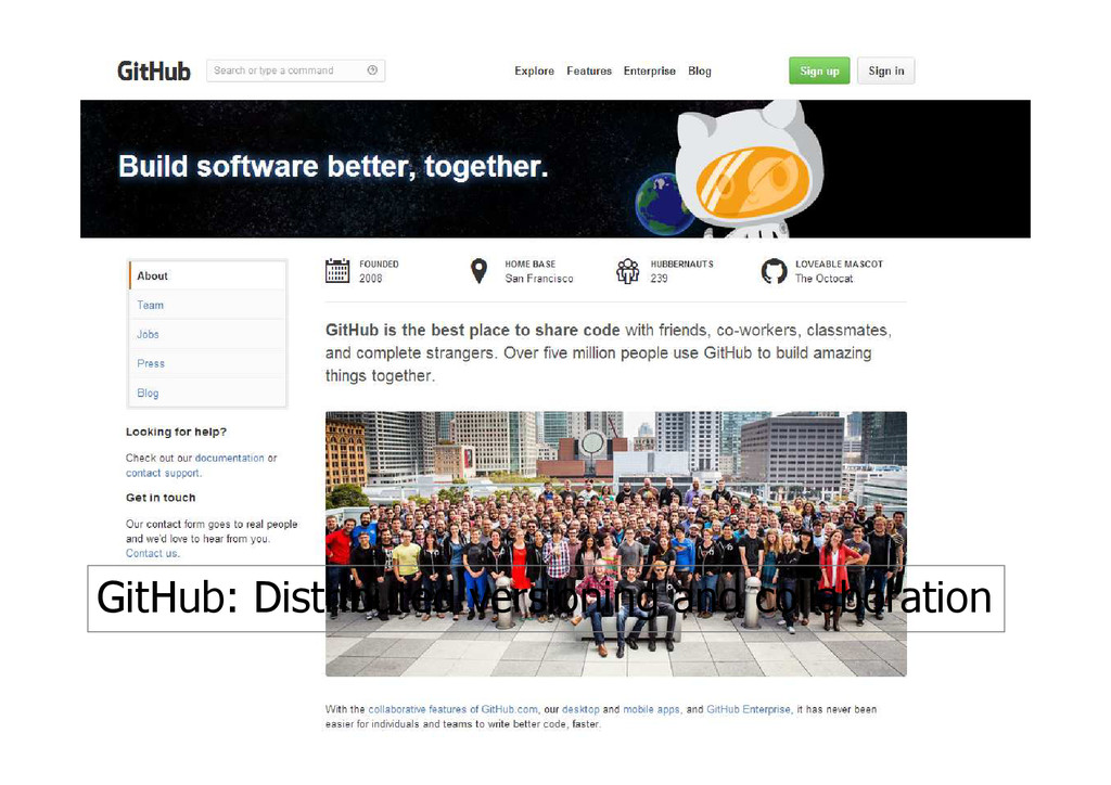 GitHub: Distributed versioning and collaboration