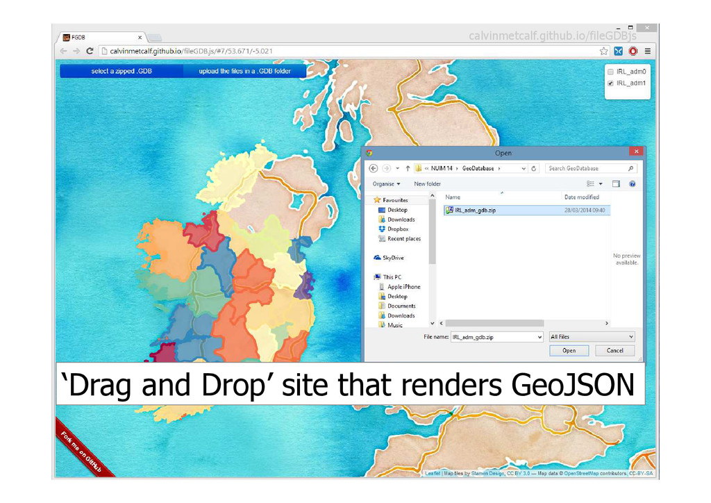 'Drag and Drop' site that renders GeoJSON calvi...
