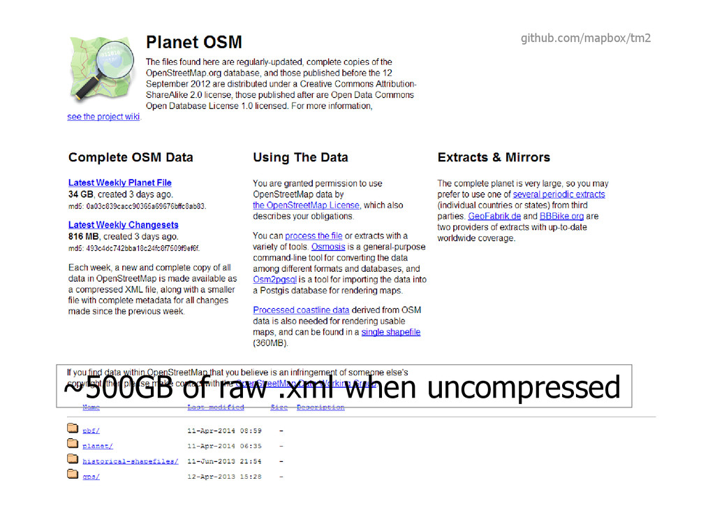 ~500GB of raw .xml when uncompressed github.com...