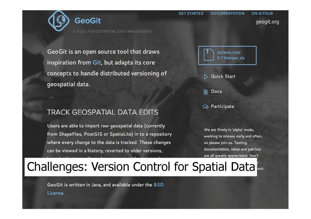 geogit.org Challenges: Version Control for Spat...