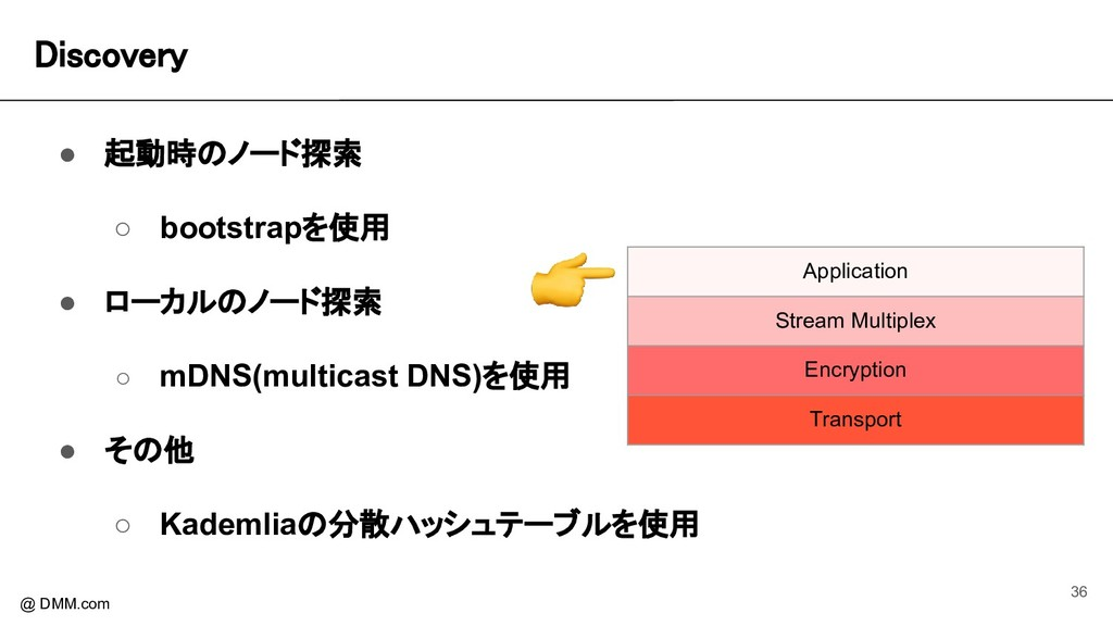 Discovery @ DMM.com ● 起動時のノード探索 ○ bootstrapを使用...