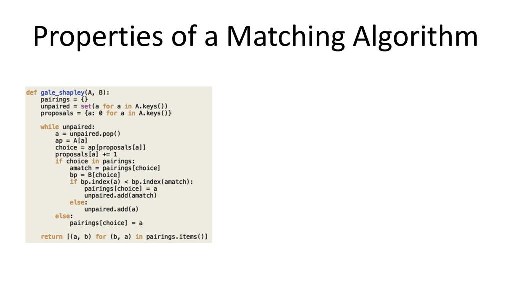 Properties of a Matching Algorithm