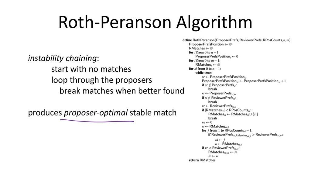 Roth-Peranson Algorithm instability chaining: s...