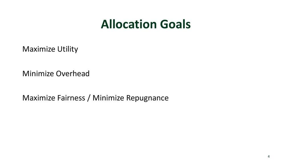 Allocation Goals Maximize Utility Minimize Over...