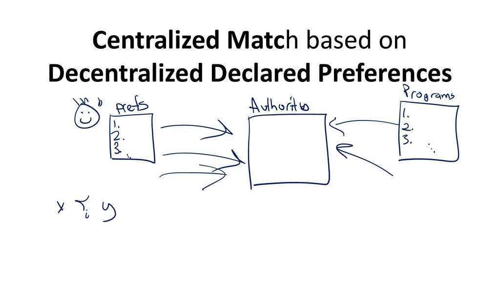 Centralized Match based on Decentralized Declar...