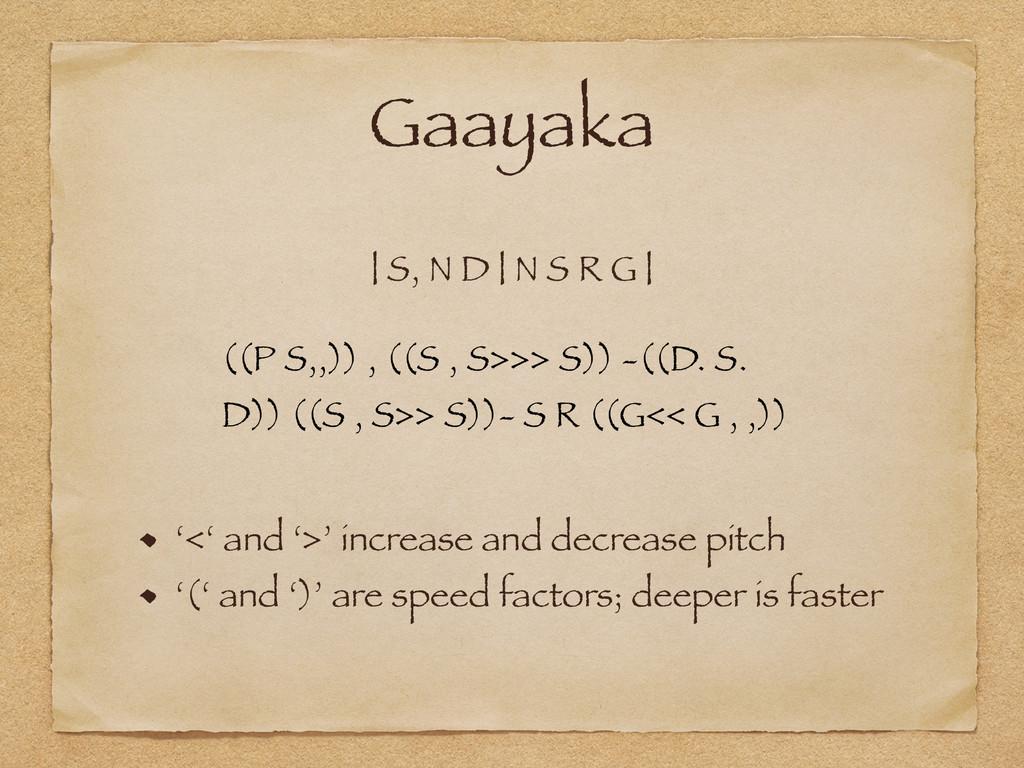 Gaayaka | S, N D | N S R G | ((P S,,)) , ((S , ...